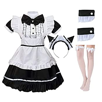 Nawan Cute Maid Outfit Cat Girl Maid Suit Classic Lolita Maid Dress  Black L