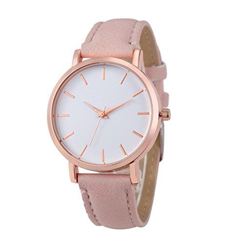 Xinantime Relojes Pulsera Mujer,Xinan Cuero PU Acero Inoxidable Analógico Cuarzo Reloj (Rosa)
