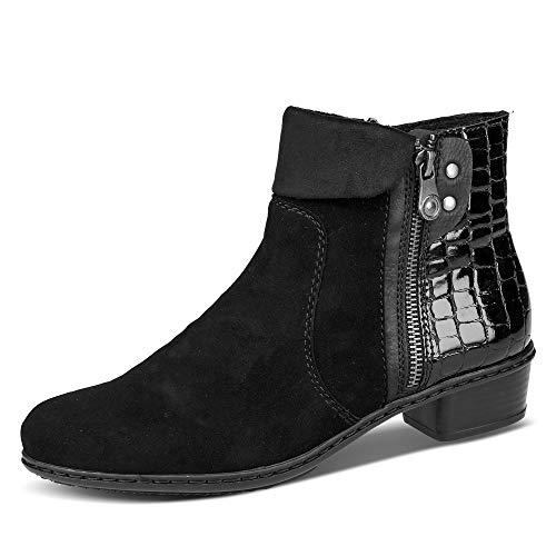 Rieker Damen Stiefeletten Y0752, Frauen Ankle Boots,Bootie,knöchelhoch,reißverschluss,weiblich,Lady,Ladies,Women's,Woman,schwarz (00),40 EU / 6.5 EU