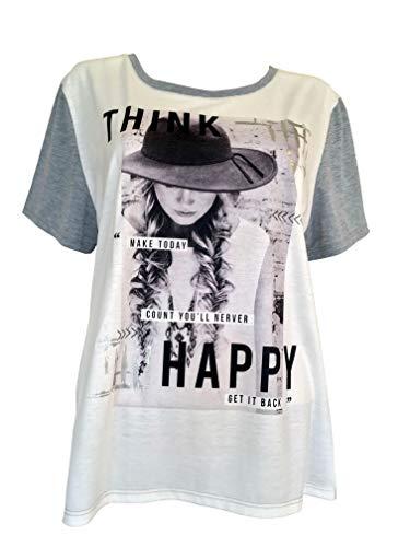 Alex(e) T-Shirt Femme Manches Courtes Vêtement Made in France Grandes Taille Mode Ete Chic Imprimé Happy Soon (M)
