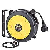 AmazonCommercial - Carrete de cable de extensión retráctil, resistente con soporte giratorio, 1,5 mm² x 10 m, color gris, amarillo y negro