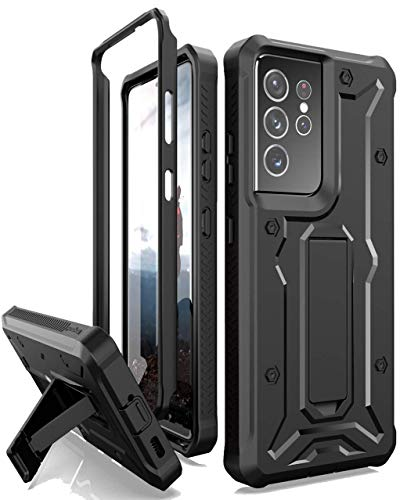 ArmadilloTek Vanguard Compatible with Samsung Galaxy S21 Ultra Case, Military Grade Full-Body Rugged with Built-in Kickstand [Screenless Version] - Black