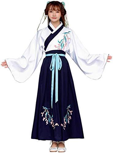 OKZH Hanfu Chino Mujer Luyiww, Disfraz Chino Antiguo Para Mujer, Disfraz Tradicional Elegante De Hanfu, Vestido De Fantasa, Vestido De Cosplay, Medio Superior Blanco Y Azul Inferior