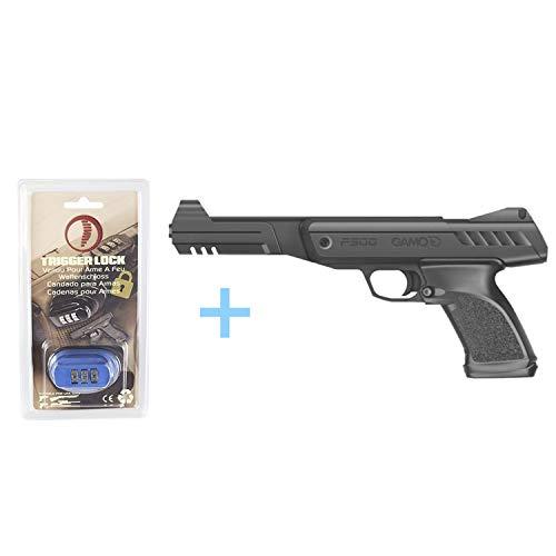 Gamo Pack Pistola Aire comprimido P-900, Pistola perdigones, Potencia de 3,5 Julios, Tiro único, Alza Ajustable, Diseño ergonómico, Calibre 4.5 mm + Candado de Seguridad Yatek. Pistolas