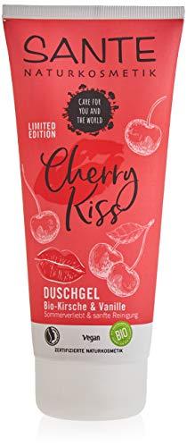 SANTE Naturkosmetik Limited Edition Cherry Kiss Duschgel Bio-Kirsche & Vanille, Pflegt die Haut natürlich und sanft, Verwöhnender Duft nach Kirsche und Vanille, Vegan, 200ml