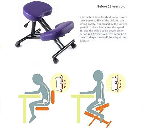 HUXIUPING Hinknien Stuhl Ergonomie Bürostuhl Büro Kniend Hocker Computer Stuhl Haltungskorrektur Anti-Myopie (Color : Purple)