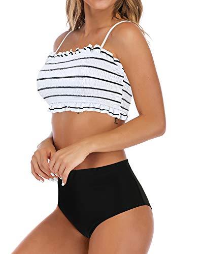 MOSHENGQI Women's Bandeau Ruffled Bikini Set Off Shoulder Smocked Swimsuiit Bathing Suit(S(US Size 2-4),White-Floral)