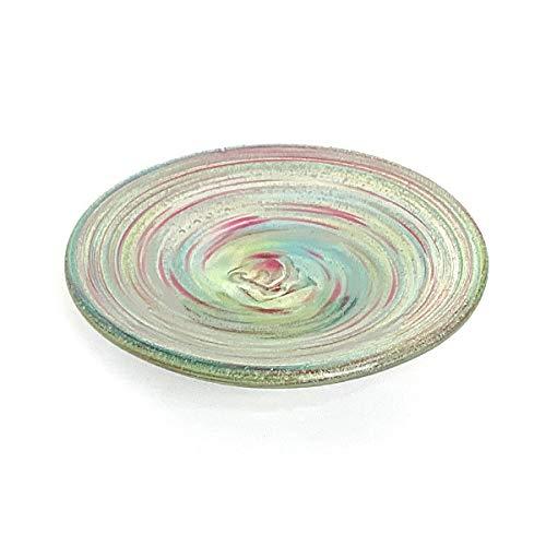 お皿 おしゃれ ガラス 食卓 和食盛り皿 琉球ガラス 醤油皿 海月小皿 (レインボー)