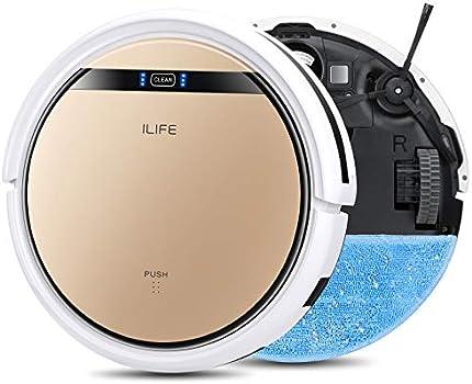 ILIFE V5s Pro, 2 en 1, aspiradora de robot, aspiradora delgada, automática de carga automática de vacío robótico, horario diario, ideal para pelo de mascotas, piso duro y alfombra de pila baja.