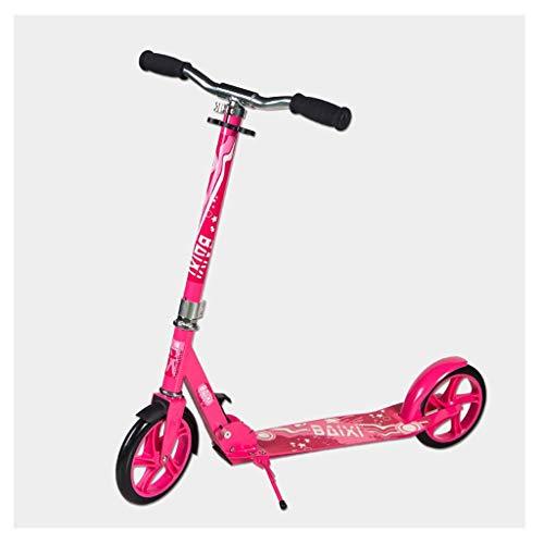 GTYMFH Scooter de pie Vespa for niños y Adultos con Altura Ajustable con 2 Ruedas Grandes Ligera instantánea Fold for Llevar a Cabo portátil Scooter de Ciudad (Color : Pink)
