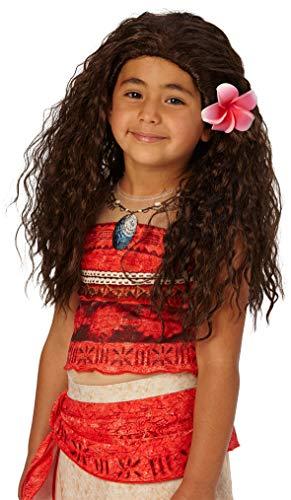 Parrucca Vaiana bambini longhair marrone Sud Sea Princess Disney carattere bambini filmato