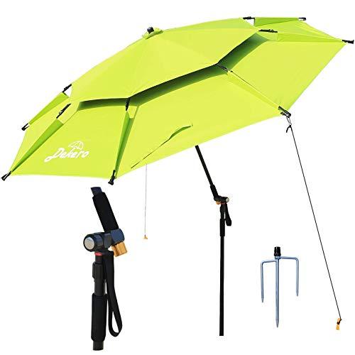 Dekero Large Windproof Beach Umbrella,UV Protection Portable Umbrella with Sand Anchor,Tilt Aluminum Pole, Carry Bag for Beach Patio Garden Outdoor Fishing
