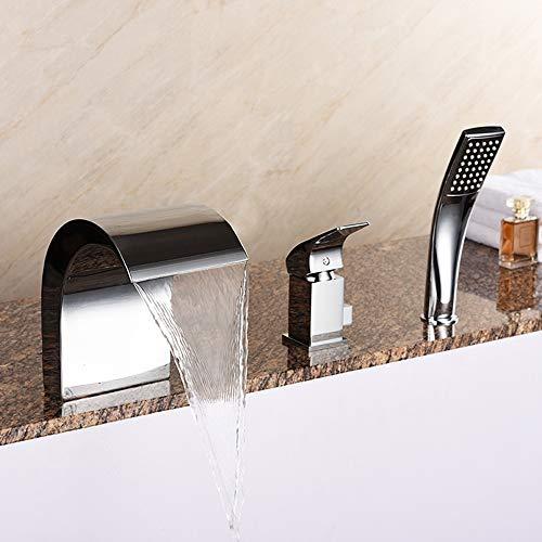 Cascada de 3 piezas grifo de la bañera, todo el cobre caliente y frío control de temperatura de la tecnología de chapado ORB/para bañeras más grandes y piscinas de la cara (plata/con ducha de mano)