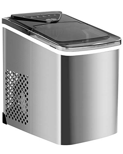 ADT Ice Maker 26 lb/24H Portable Ice Maker Ice Cube Maker (Silver)