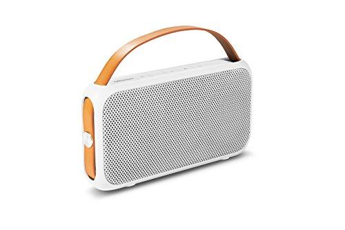 MEDION E65555 Bluetooth 4.0 Lautsprecher (2 x 10 Watt, AUX Anschluss, IPX4 Spritzwassergeschützt, USB Anschluss, integrierte Powerbank, 1300 mAh, Li-Ion Akku) weiß