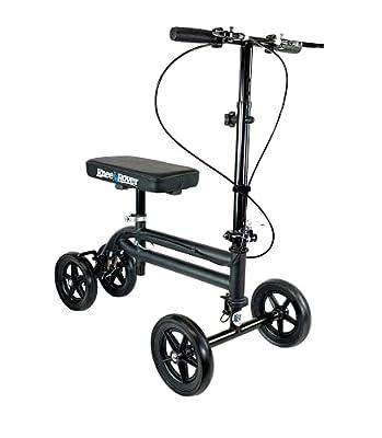 KneeRover Economy Knee Scooter Steerable Knee Walker Crutch Alternative with DUAL BRAKING SYSTEM in Matte Black by KneeRover