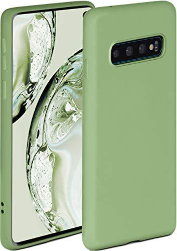 ONEFLOW Soft Hülle kompatibel mit Samsung Galaxy S10 Hülle aus Silikon, erhöhte Kante für Displayschutz, zweilagig, weiche Handyhülle - matt Grün