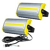 LED投光器,LED作業灯,50W 850W相当 2個組 COBチップ 8000LM 3Mコード アース付きプラグ PSE適合 看板灯 街路灯 駐車場灯 昼光色 防水 1年保証
