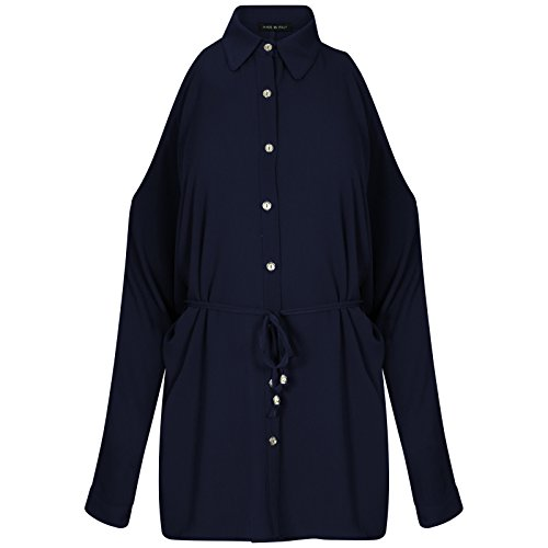 Krijg de trend dames Womens koude schouder shirt jurk Womens riem uitgesneden Mini jurk Shirt