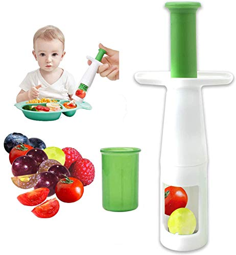 Grape Cutter Garlic Cherry Cutter Strawberry Slicer Multifunctional Creative Cut Tools for Salad Gadgets and Baby Auxiliary Food, Plastic Shell Stainless Steel Blade