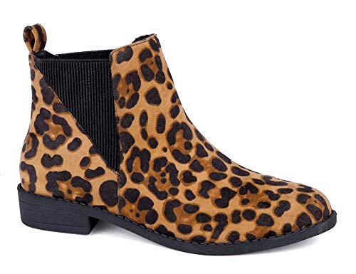 MaxMuxun Women Bootie Comfort Classic Chelsea Ankle Boots Leopard Print Size 11