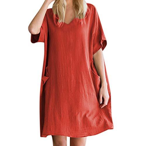 iYmitz Mode Sommer Rock Solide Loose Dress Damen Rundhalsausschnitt Lässige Kleid mit Kurzen Ärmeln Kleider