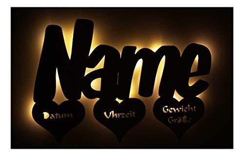 Schlummerlicht24 Led Deko Leuchte mit Name Babygeschenke Herzen Lampen mit Namen für Babys Junge Mädchen Kinder-Zimmer Tauf-Geschenke Kommunion Geburtsgeschenke Babyzimmer Taufe Geburt