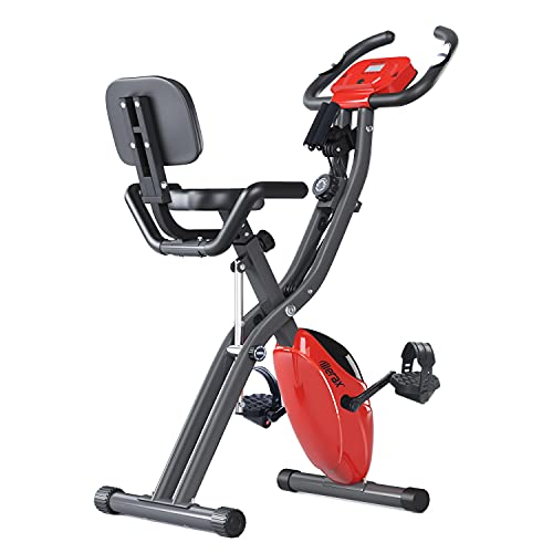 Merax Folding Exercise Bike, Stationary Bike with Magnetic Resistance, Pulse Monitor and Oversize Seat, Indoor Cycling Bike