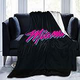 Vasopcegrok Miami Heat 3D Print Flannel Fleece Blanket Throw Reversible Super Soft Warm Cozy Comforter Blankets Fall Winter Blanket