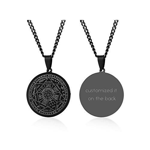 XUANPAI Kostenlose Gravur Siegel der Sieben Erzengel Anhänger Choker Aussage Halskette Talisman Anhänger Amulett Schmuck für Männer, Schwarz