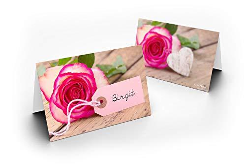 25 tafelkaarten/roos met houten hart/UV-lak glanzend/voor kerst/oudejaar/bruiloft/verjaardag/jubileum/als tafeldecoratie/formaat/8,5 x 11,2 cm/850 mm x 1120 mm