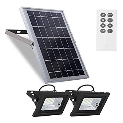 "Solar Flood Lights Outdoor Dusk to Dawn Remote Solar Lights 10W 6V 13.6""x 9.3""Solar Panels Security Lights with 800LM Dual 5.1""x 3.9"" 64 LED Landscape Lights for Street,Shed,Barn,Flag Pole,Step Lights"