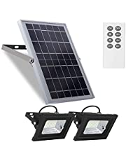 """Sun River Light Outdoor Remote Control Led Headlights Solar Powered 10W 6V 13.6""""x 9.3"""" Light Sensor Solar Panels with 800LM Dual 64 LEDs 4400mAh Solar Wall Lights for Shed Barn Garden"""