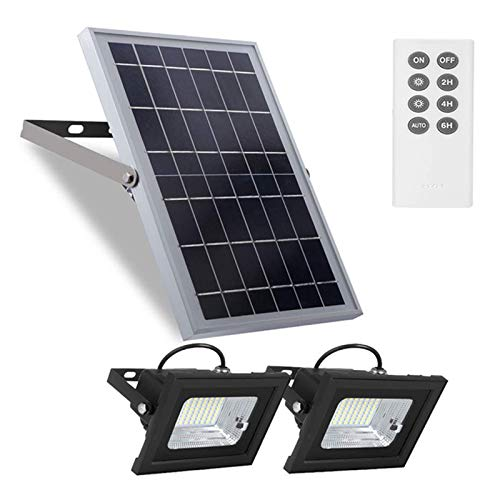 Solar Flood Lights Outdoor,Dusk to Dawn Remote Solar Lights with 800LM Dual 64LED 6500K White Led Floodlights Ip65 Waterproof Solar Powered Street Lights for Pool,Barn,Parking Lot