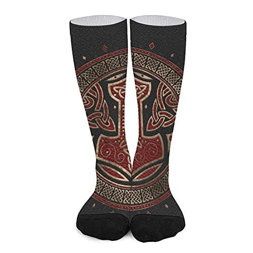 Calcetines deportivos unisex de alta comodidad para la rodilla, transpirables, atléticos, informales, de tubo largo, el martillo de Thor, negro, rojo y dorado