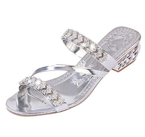 Cheerlife Elegant Damen Strass Sandalen Sandaletten Abendschuhe Sommer Schuhe Blockabsatz Pantoletten Badelatschen Größe Peep Toe Schuhe 40 Silber