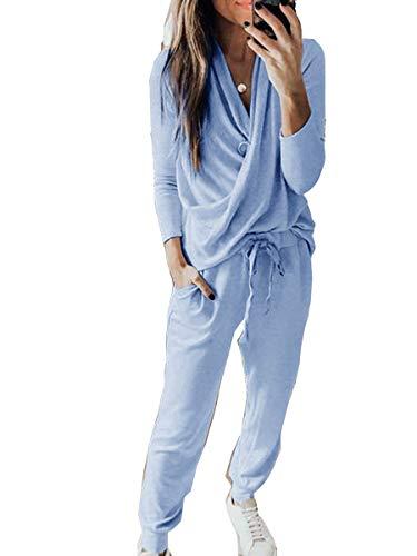 ORANDESIGNE Damen Jogginganzug Sportanzug Tracksuit größe größen Kordelzug Trainninganzug Jogger Taschen Damen Sweat Suit Trainingsanzug Blau L