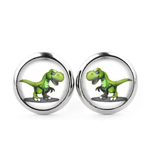 SCHMUCKZUCKER Damen Kinder Unisex Ohrstecker Motiv T-Rex Dinosaurier Edelstahl Ohrringe Silber Weiß Grün 12mm