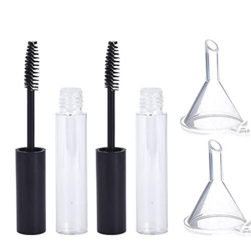 2pcs Tube Mascara Vide avec Baguette à Cils et 2pcs Entonnoirs en Plastique Réutilisable pour Mascara DIY, Emballage Cosmétique