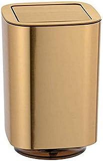 WENKO 24163100 Auron Doré, Poubelle avec Couvercle oscillant, 5.5 l, Plastique, Or, 17,2 x 25,5 x 17,2 cm