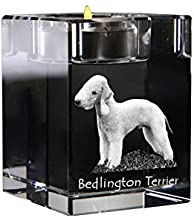 Bedlington, Crystal Candlestick, Candle Holder with Dog, Souvenir, Limited Edition