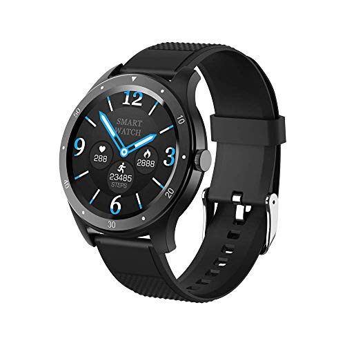 Bcamelys Smartwatch, Activity Tracker ip67, Smartwatch Quadrante Rotondo Touchscreen 1.3, Fitness Tracker Pressione Cardiofrequenzimetro Smart Watch Uomo Donna per Android iOS Telefono