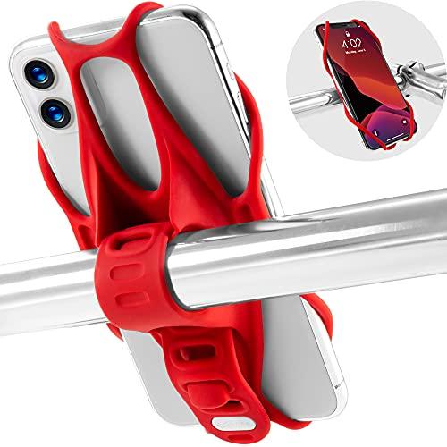 Bone Bike Tie 3 自転車 スマホ ホルダー シリコン製三世代目新版 5.8〜7.2インチのスマホに対応iPhone 11 Pro/11 Pro Max/11/XS/XR/X Xperia XZ3 Galaxy S10 S9 S8 Note 9 Pixel 3 XL 脱着簡単 脱落防止 ハンドル用 (レッド)