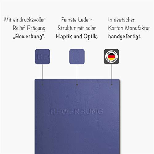 """8 Stück 2-teilige Bewerbungsmappen Blau mit 1 Klemmschiene in feinster Lederstruktur - hochwertige Prägung """"BEWERBUNG"""" - 2"""