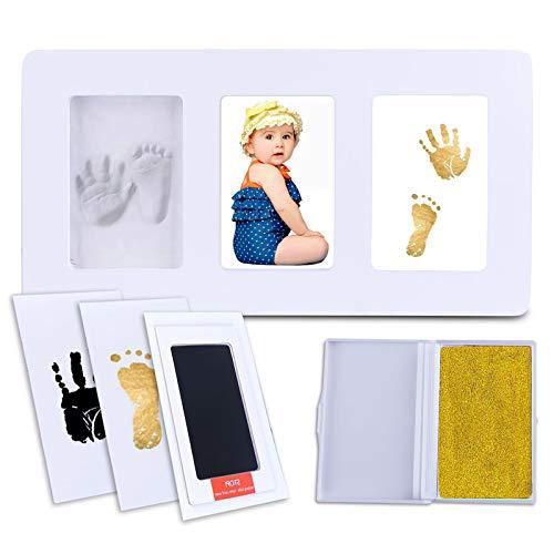 Baby Handprint Kit-Footprint Fotorahmen Kinderzimmer Bilderrahmen, einzigartige Babyparty-Geschenke für die Registrierung, ungiftig, Acrylglas, Guss- und Druck-Kits (Weiß) (L-35 * 18cm)