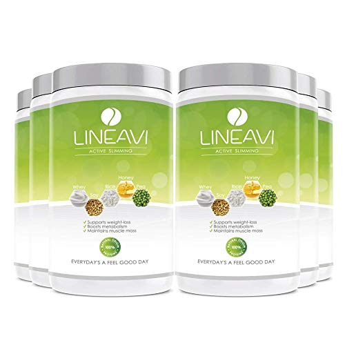 LINEAVI Active Slimming, protein meal replacement powder, balanced diet drink, mix of soy, pea, rice and whey proteins, lactose free and gluten free, made in Germany, 6x500g