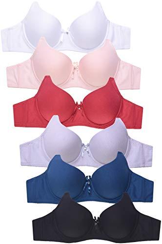 Women's Premium Plain Cotton Bra (6 Pack) (32B)