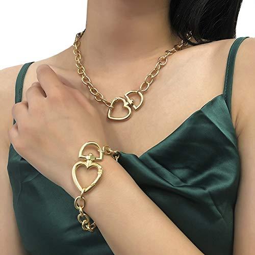 BNMY Conjunto De Collar Y Pulsera para Mujer Accesorios De Cadena Gruesa De Amor A La Moda para Niñas Adolescentes, Regalos De Joyería para Mujeres,Oro