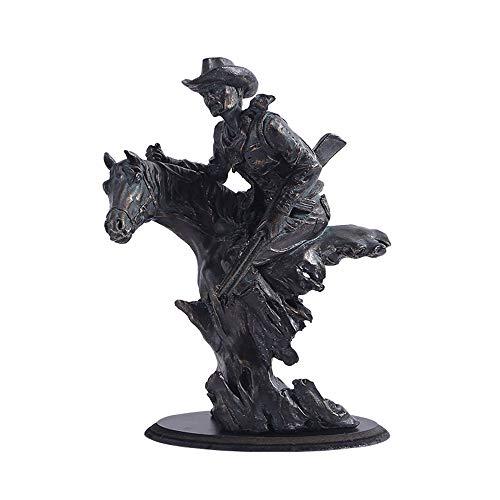 Equitación Cowboy, Arte Deco Escultura Arte Moderno Vintage Ecuestre Estatua Decoración Artesanía