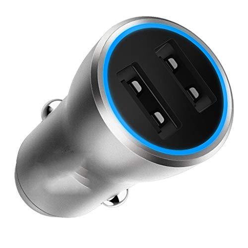 Cargadores de Coche Cargador De Coche USB Adaptador De Coche Cargador 4.8A Dos Puertos 12-24 V Universal con Tecnología ISmart2.0 Plata Cargadores de Coche